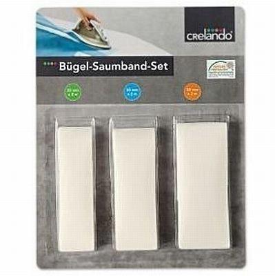 CRELANDO® Bügel-Saumband-Set - Bügelsaumband 3-teilig - weiß