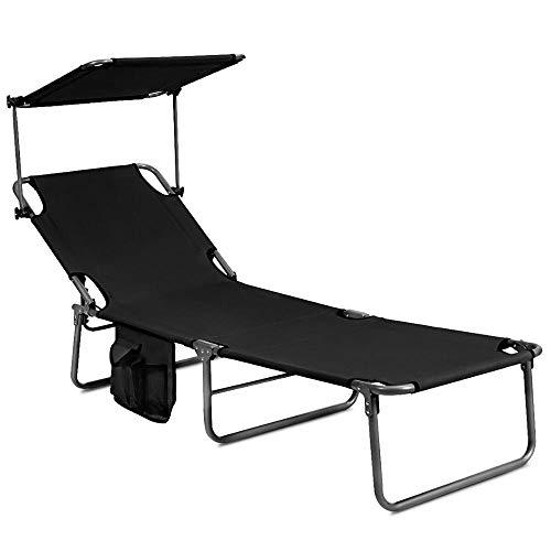 XUSHEN-HU Sillón plegable ajustable al aire libre, playa, patio, piscina, reclinable, con parasol OP70525 (color: OP70525BK)