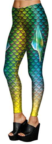 Belsen Damen Meerjungfrau Schwanz Elastic Leggings Pants Bleistifthosen (M, blau) Herstellergrösse 4