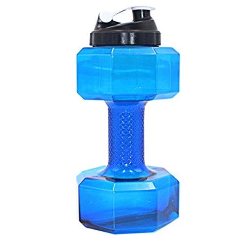 Gusspower Wasser Flasche, PETG 2.2L Hantel Form Water Jug umweltfreundliche Sport Fitness Übung Wasser Krug für Gym, Yoga, Laufen, Draußen, Radfahren und Camping (Blau)
