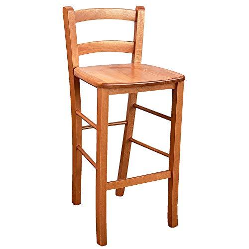Sgabello h 67cm da terra alla seduta in ciliegio seduta in legno massello