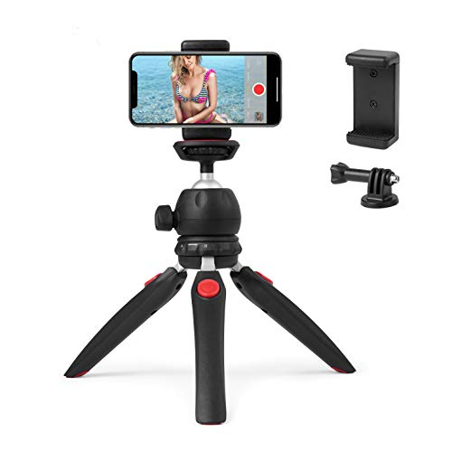 Polarduck Mini Tripod, Cell Phone Tripod, Tabletop Holder Tripod Stand for iPhone/Camera/DLSR/Android Smartphone/Projector with Universal Phone Mount & GoPro Mount, Fully Adjustable Angle & Rotation