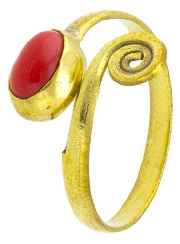 Chic-Net Messing Ringe oval Jaspis offen Ende spiralig antik golden Tribal verstellbar