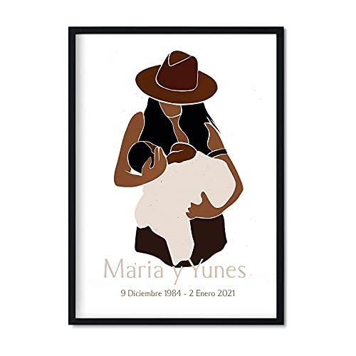 Nacnic Lámina Personalizada Mama con Hija. Pôster para Regalar con Dibujo de Madre e Hija. Personalizalo con Sus Nombres y Fechas de Nacimiento mamá. Cuadro Precioso Maternidad.