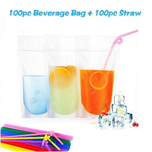 Longra 100PC Strohhalme + 100PC transparente Getränkebeutel Trinkbeutel für Flüssigkeit Saft Milch Wein bei Draußen Picknick Camping