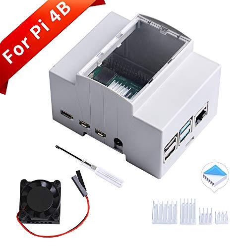 GeeekPi Rahmen für Raspberry Pi 4 auf DIN Schiene - Modulare Box für Schalttafeln, Raspberry Pi 4 Gehäuse mit Lüfter, Raspberry Pi Kühlkörper für Raspberry Pi 4 Modell B