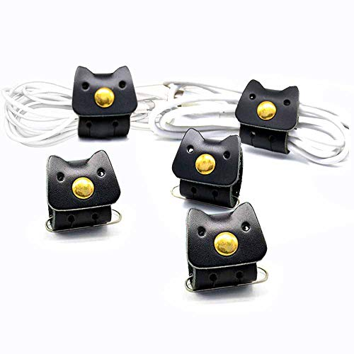 CAILLU Cord Leather Organizer,Cute Headphone cable Organizer,Earphone case Headset Wrap,Cord management,Compatible phone Headphone holders USB Power Cable Ties Gifts,earbud case clips 3Pack
