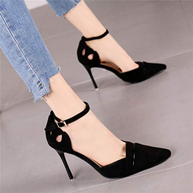 Pumps Pumps Mode Spitze Wildleder Stiletto Super High Heels Temperament wildes Wort mit hohlen flachen Mund einzelne Schuhe weiblich, 37, schwarz  Großhandel billig und von hoher Qualität