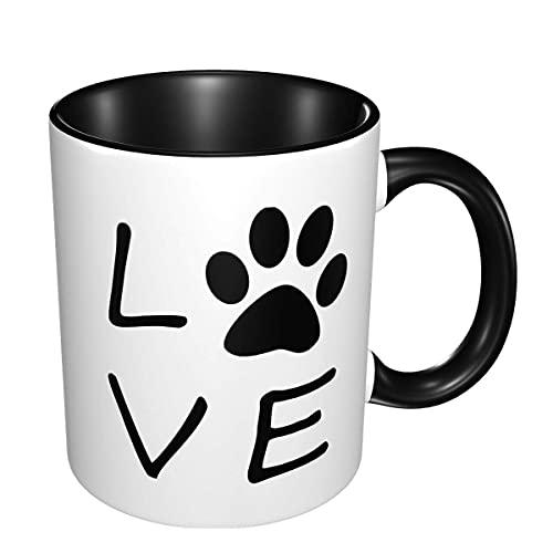 N\A Pata del Perro Amor Diseñado cerámica Taza de té Copa 11 Oz