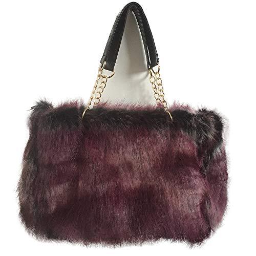 Yu He Womens' Faux fur Messenger Crossbody Shoulder Bag Satchel Tote Handbag Wine red