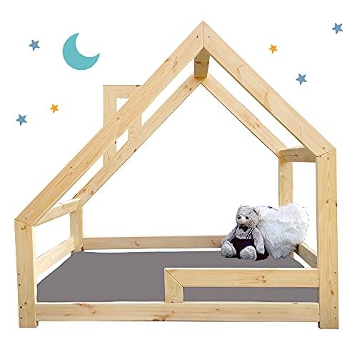 (180x90 cm con chimenea, con barandillas) NeedSleep® cama infantil niño cama casita montessori | 140x70 160x80 180x90 | cama juvenil | cama bebe | niña niño | casitas de madera infantiles | Asimétrico