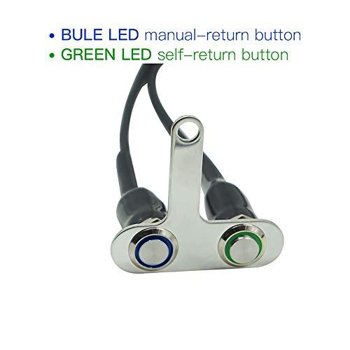 ShanShan Mu Schakelpook voor motorfietsschakelaar, roestvrij staal, 12 V, verstelbaar, aan-/uit-schakelaar, koplampen met LED (blauw en aviditeit) (kleur: blauw en groen)