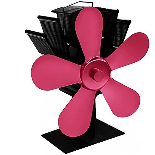 EastMetal Ventilador de Estufa Energía Térmica, Ventilador de Chimenea 5 Palas, Silencioso Ecológico Calor Accionado Respetuoso del Medio Ambiente, para Estufa de Leña/Chimenea/Gas/Troncos(Pink)
