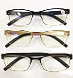 YUFHBDI Gafas de Lectura ultraligeros, luz Manera Anti-Azul, la protección radiológica, Gafas de Lectura, Alta definición Lectura Multi-focales Gafas 2pcs