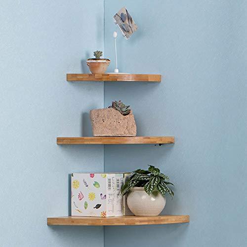 Estantería esquinera flotante de pared, bambú, rústica, para baño, sala de estar, dormitorio