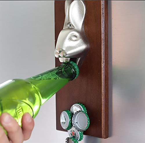 Flaschenöffner opasd Wand aus Holz Magnet-Saug-Bier-Treiber Kühlschrank Stick Flaschenöffner Riegel Werkzeug Kühlschrank Magnet, Flaschenöffner für Kaninchen