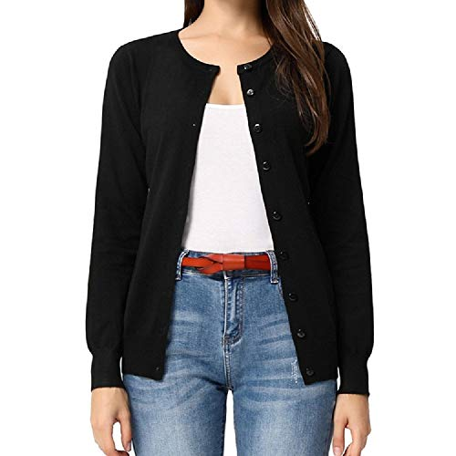 GRACE KARIN Damen Basic Strickjacke Casual Kurz Cardigan Langarm Button Down Rundhals Cardigan XL Schwarz CLAF1006-1