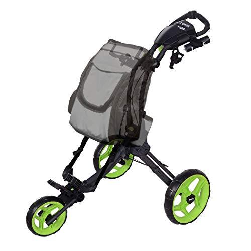 Rovic RV1D 3-Wheel Disc Golf Push Cart | Fits All Disc Golf Backpacks (Charcoal/Lime)