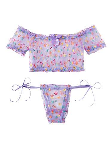 WDIRARA Women's Sexy Two Piece Self Tie Ruffle Trim Polka Dots Lingerie Set Purple Letter M