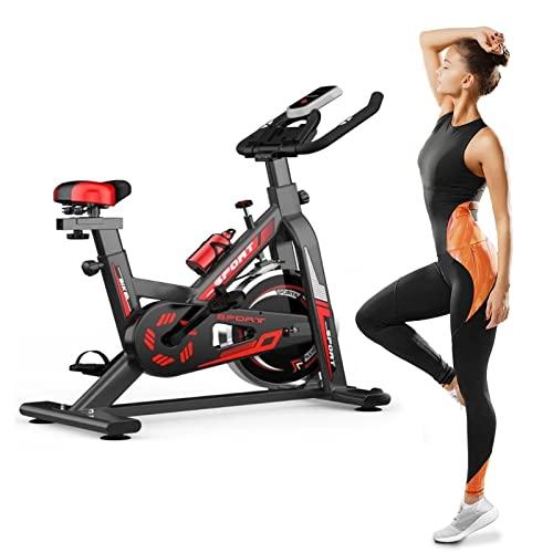 Bicicleta Spinning Fitness Bici Estática Indoor Volante Inercia 6KG Resistencia Ajustable Monitor LED Gimnasio Ejercicio Y Entrenamiento Casa Hombre Mujer
