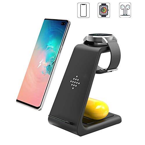 Estación de carga inalámbrica, 3 en 1, soporte de carga con certificación Qi, compatible con Samsung Galaxy S10/S9/8/Note10, Galaxy Buds&Galaxy Watch 42 mm/46 mm/Active2/1, Gear S3/S2/Sport