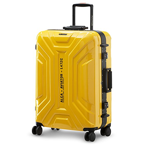 LUSHBERRY スーツケース 大型 人気 鏡面 アルミフレーム 超軽量 カッコイイ 可愛い キャリーケース 静音 TSAロック 旅行 出張8輪 ダブルキャスター(XLサイズ 超大型 91L 6.57KG 7泊以上, 黄)