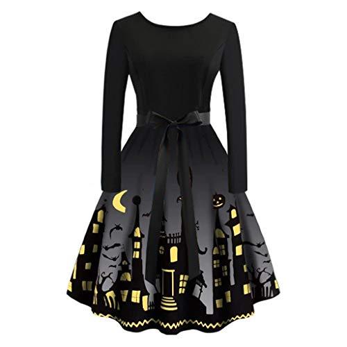 Schöne Halloween Kleid Große Größe Damen Drucken 1950er Retro Schwingen Kleid,Oversize Vintage Cocktailkleid Rockabilly,Faltenrock Abendkleider Knielang URIBAKY
