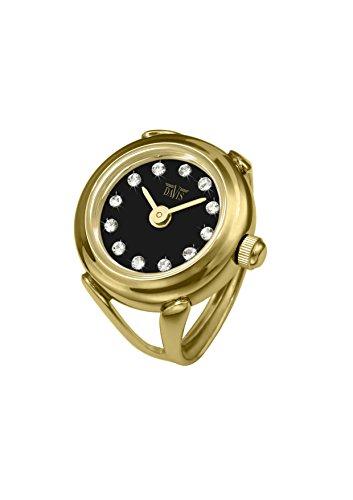 Davis - Ring Watch 4175 - Anello Orologio Donna Strass Cristallo Swarovski Oro Giallo-Quadrante Nero-Regolabile