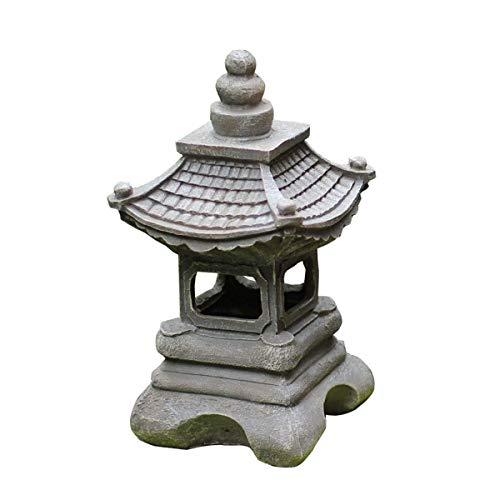 MKXF Estatua de Stupa al Aire Libre de Estilo japonés Arte Zen Escultura de césped Oriental 13,4 Pulgadas Pequeña Pagoda Linterna de jardín Luz Solar