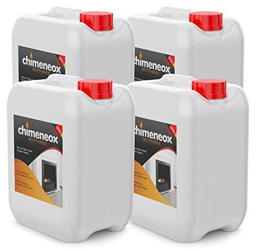 4 X 5L Bioetanol 96% origen Vegetal para chimeneas - 20l Combustión de alta calidad no humos