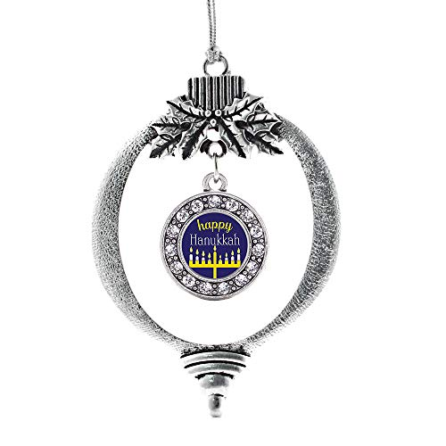 Inspired Silver - Happy Hanukkah Charm Ornament - Silver Circle Charm Holiday Ornaments with Cubic Zirconia Jewelry