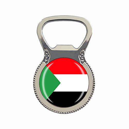 Flaschenöffner, Motiv: Sudan-Flagge, Kühlschrankmagnet, Metall, Glas, Kristall, Reise-Souvenir, Geschenk, Heimdekoration