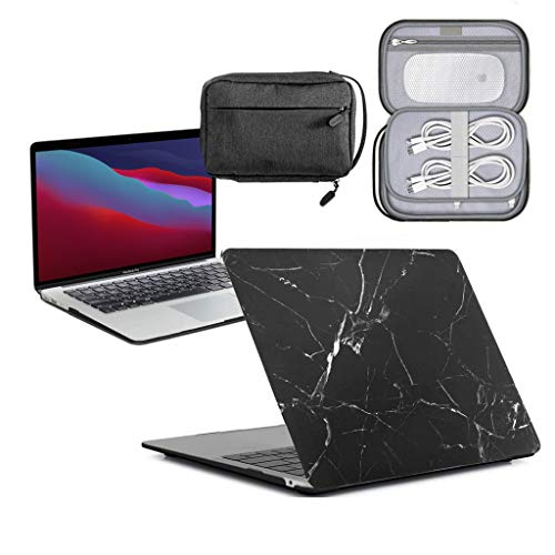GUPi - Marble Black Hard Shell Case, Cover with Water Resistant Accessory Bag for Apple MacBook Pro [13-inch Pro A2338 (Touch Bar) - 2020]