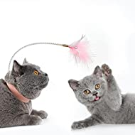 Cat Feather Toys Wand Teaser - Legendog Interactive Kitten Toys with 2 Refills Sticks - Small Bell A...
