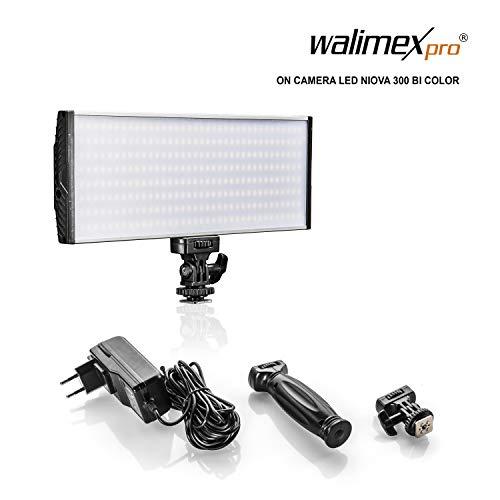 Walimex pro Niova 300 Bi Color – LED Videoleuchte mit 2x NP-F Akku Slots + Netzteil, dimmbar, starke 30 Watt, 3.000 Lumen, CRI ≥ 95 Ra, Farbtemperatur 3200-5600K, Aluminium Gehäuse, neigbare Halterung