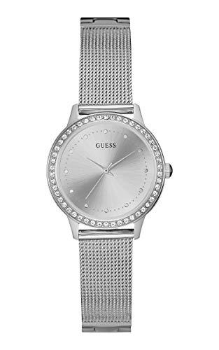 Guess Damen Analog Quarz Uhr mit Edelstahl Armband W0647L6
