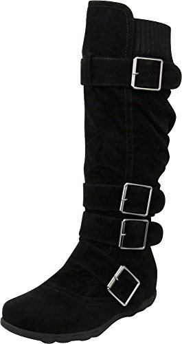 Cambridge Select Women's Buckle Sweater Knee High Flat Boot (8.5 B(M) US, Black)