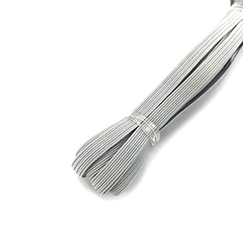 Thank You All Colored Elastic Bands 1/4 Inch 6 mm Braided Rope for Mask Heavy Stretch Elastic Cord for Sewing and Crafting DIY Gray Elastic Cord 5 Yards