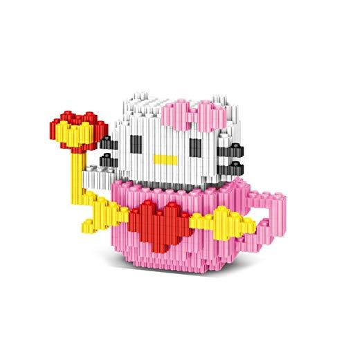 Pequeños bloques de construcción de partículas Pop Pink Hello Kitty PVZ Desarrollo de bloques de construcción mentales Muñeca de juguete Modelo Mini q Versión Versión Versión Montaje de acción Muñeca