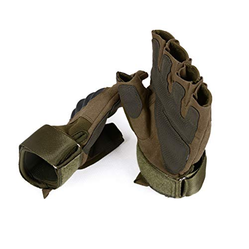 Wraith of East Fingerless Covert Tactical Gloves Military Combat Airsoft Motorcycle Hiking Hunting Climbing Outdoor Half Glove (23-Army, M)