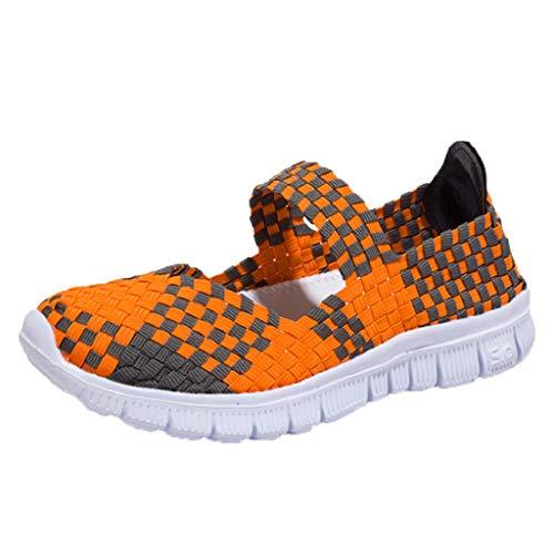 DoGeek Schuhe Damen Gewebte Schuhe Handgemachte Geflochten Leichte Sandalen Damen Elastisch Wanderschuhe Sommerschuhe Damen,orange,35EU