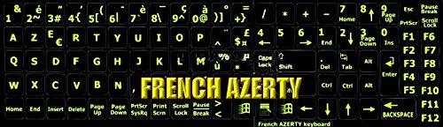 Sticker, neon-stickers, AZERTY-toetsenbord, compleet, Frans