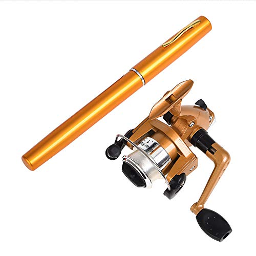 AINAAN Mini Portable Pocket Aluminum Alloy Fishing Rod Pen, 39 inch, Gold