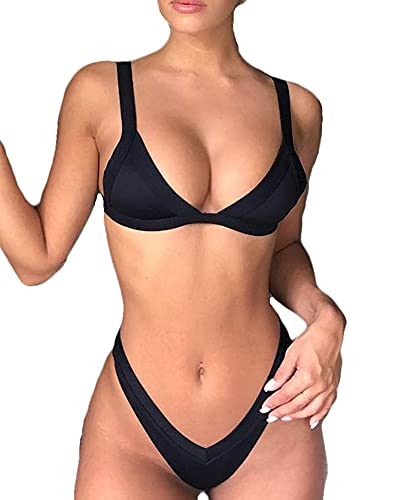 Joligiao Mujer Bikinis Brasileños Traje de Baño Tanga Triángulo Acolchado Dos Piezas Ropa de Baño Push Up Color Liso Sexy Bañador de Baño