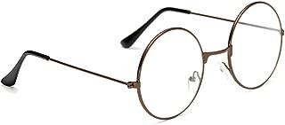 ZEVONDA Unisex Round Glasses Metal Frame - Retro Clear Lens Vintage Geek Eyeglasses for Women Men