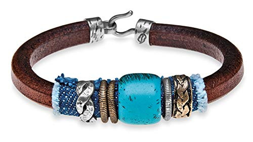 PLATADEPALO - Denim | Armband aus Leder mit Jeansstoff - CB25A T/19