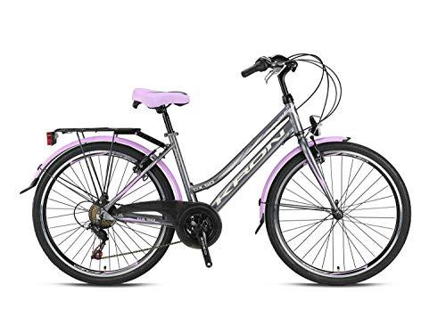 GK 24\' Zoll Alu City Bike Mädchen Fahrrad Kinderfahrrad Shimano 21 Gang RH 13-14\', Farbe:Roze