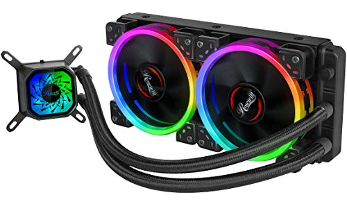 Rosewill RGB 240mm CPU Liquid Cooler, All-in-One Closed Loop PC Water Cooling, Quiet Addressable RGB Ring Fans, Intel/AMD Compatible, 400mm Sleeved Tubing - PB240-RGB