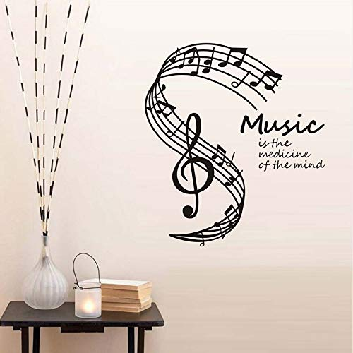 44 * 50cm DCTOP Music Is The Medicine Of The Mind Wall Stickers Musical Notes Stave Home Decor Living Room Music Note Wall Decals Hot