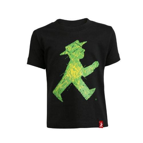 AMPELMANN T-Shirt Kinder - Luxuskerlchen Geher vorne/Steher hinten Ampelglasoptik schwarz